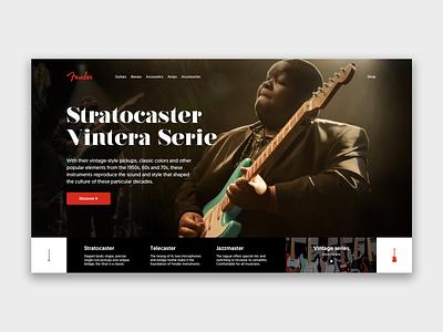 Fender Stratocaster ui art landing page design branding illustration ux homepage web design fender guitar music
