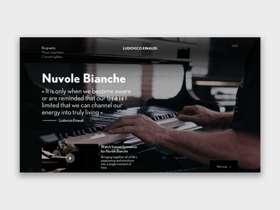 Ludovico Einaudi user interface piano musician music art illustration landing page design ux homepage design interface design webdeisgn ui design
