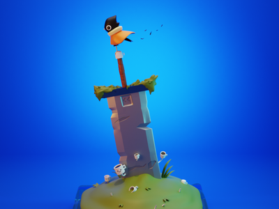 The prince's sword bird crow fanart illustration b3d blender3d 3d art 3d blender