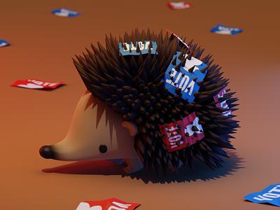 Hedgehog election hedgehog illustration b3d blender3d 3d art 3d blender