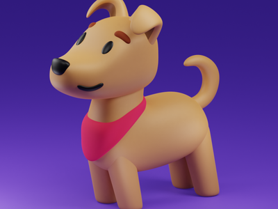 Dog pet doggy dog illustration b3d blender3d 3d art 3d blender