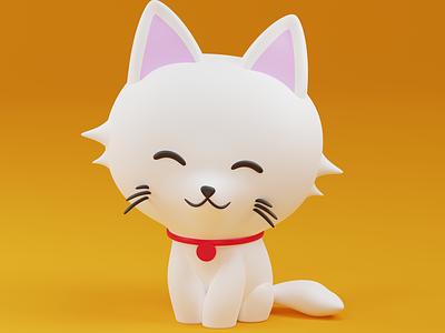Cat pet kitty cat illustration b3d blender3d 3d art 3d blender