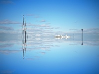Sailboat & Ferry Reflection