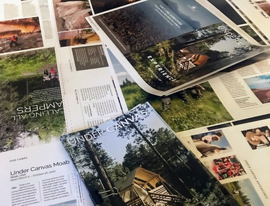 Graphic Design, Direction and Production art management outdoors magazine production magazine design prepress production color proofs blues magazine camping glamping luxury good design llc consulting art direction creative direction graphic design