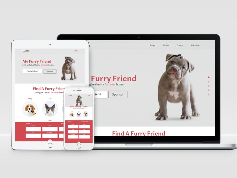 Responsive web mockup pet adoption landing page design ux ui
