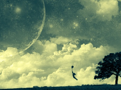 Endless Dream photoshop surrealism abstract silhouette wallpaper clouds stars space endless dream color correction