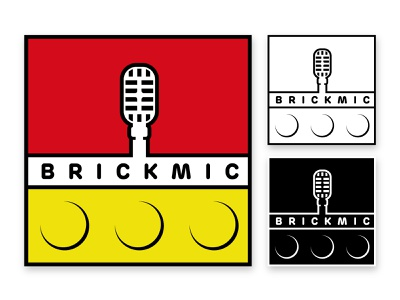 brickmic illustrator black white yellow red logodesign lego podcast logo