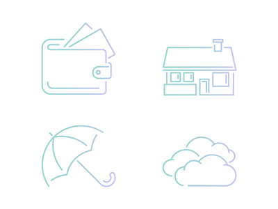 Icons davinci gradient clouds umbrella house wallet icons