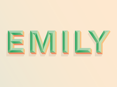 Emily love typography shadow bevel peach green emily