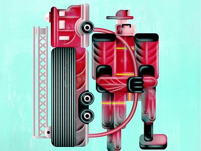 Fireman cuba havana character art cuban backpack illustration vector truck fireman