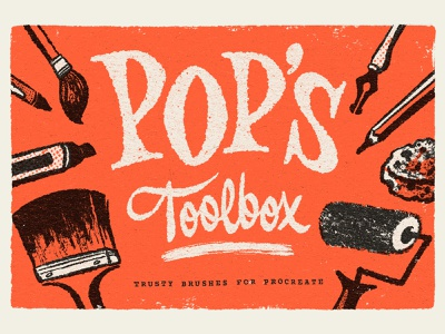Pop's Toolbox typography script type hand lettering ipad toolbox textures mid century lettering illustraion brush pack brushes procreate