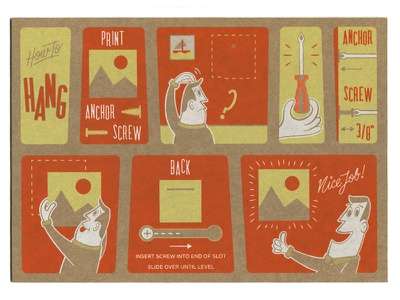 Instruction Card screen print chipboard illustration typography lettering vector