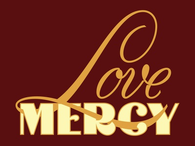 Love Mercy type vector hand lettering typography script lettering