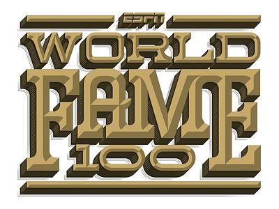ESPN World Fame 100 type lettering vector dimensional bevel espn typography