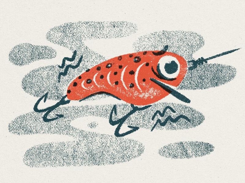 Brave Little Baits halftone typography bait lure texture fishing illustration