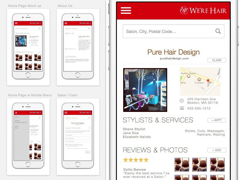 Responsive Web Design for We're Hair werehair learning responsive web