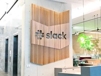 Slack HQ Lobby Sign woodworking cnc signage branding