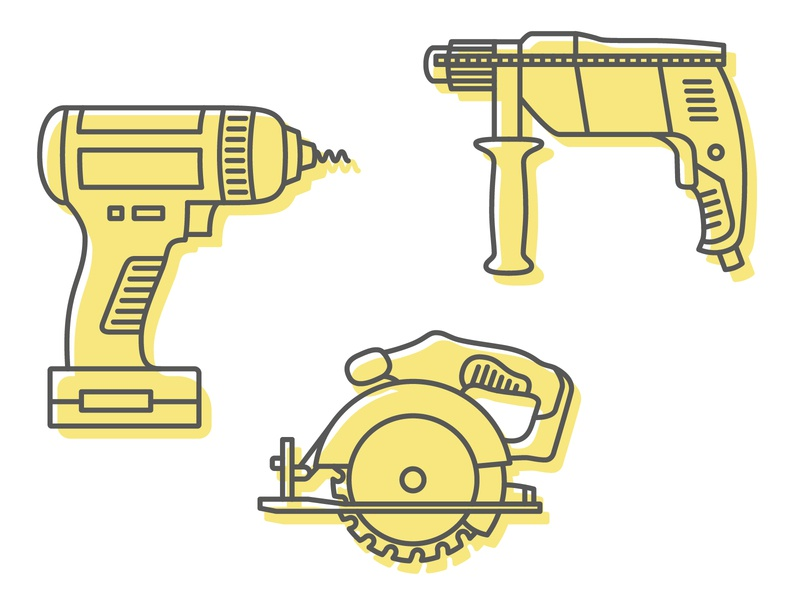 Power tools hammer drill drill circular saw machinery power tools tools icon design illustration