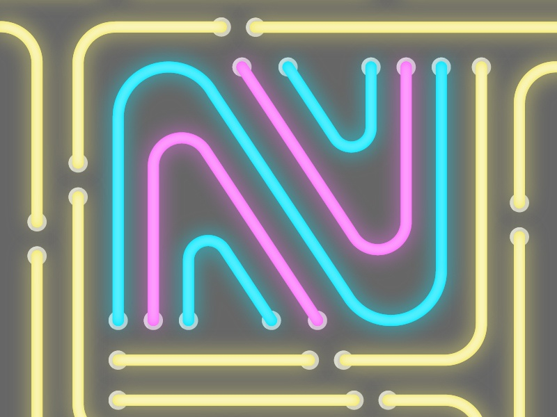 36 days of type - N (Neon) lights neon lights colours neon 36daysoftype-n illustration 36daysoftype