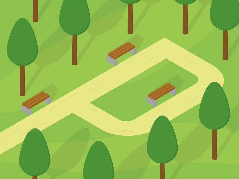 36 days of type - P (Park) 36daysoftype-p path bench trees space open outdoors park design 36daysoftype illustration