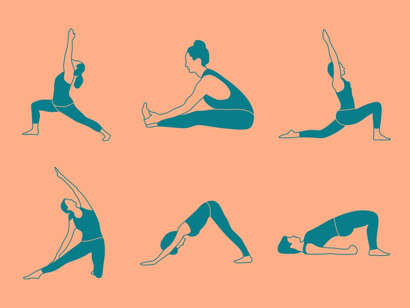 Yoga Positions exercise gym icons zen fitness health meditation yoga pose positions yoga design illustration