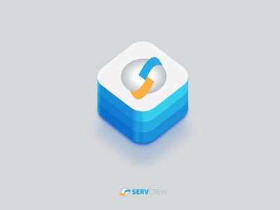 Servcrew App Icon app icon blue colorful clean network connect connecting world globe service app