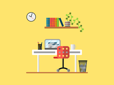 workplace office ikea chair desk computer interior design style vector illustration flat stayhome home stay freelancer freelance work wokrspace workplace