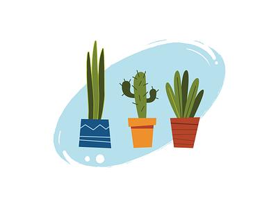 cartoon plants home house pot doodle succulent funny banner vector illustration interior jungle green flat office design style cartoon sansevieria cactus plant