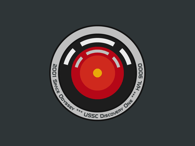 hal 9000 - mission patch badge mission patch stripe chevron sticker universe label emblem odyssey discovery hal 9000 kubrick cosmos space vector illustration flat design dribbbleweeklywarmup