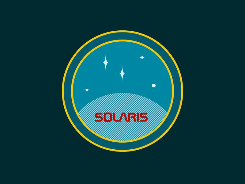 solaris - mission patch astronaut blue vector universe stripe sticker space patch mission label illustration lem solaris flat emblem dribbbleweeklywarmup design cosmos chevron badge