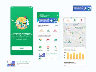 Exploration - Pikobar - Covid 19 map dashboard app information covid19 covid green illustration app mobile uidesign ux ui user interface design