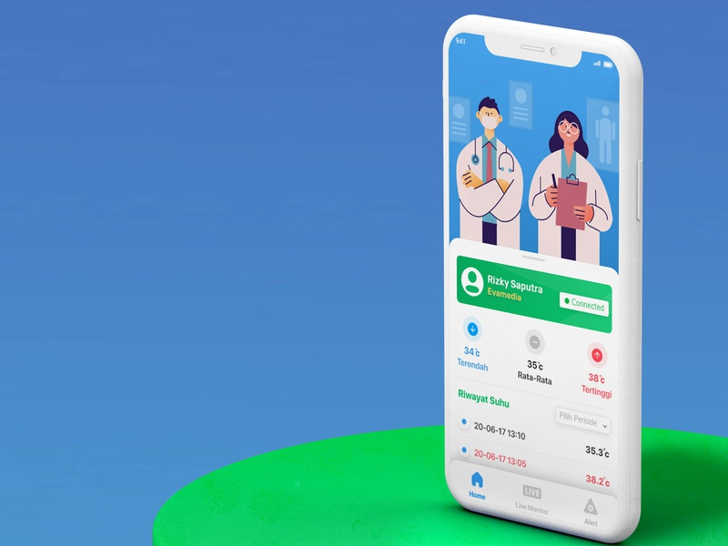 Thermometer Apps doctor celcius thermometer blue green illustration mobile user interface mockup ui design