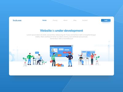 Web is under development web website design blue under development maintenance page development construction website ux illustration ui design