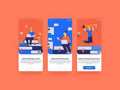 Basic Tips Apps - On Boarding education onboarding orange blue app mobile uidesign user interface illustration ui design