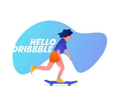 Hello Dribbble girl skate illustration flat design