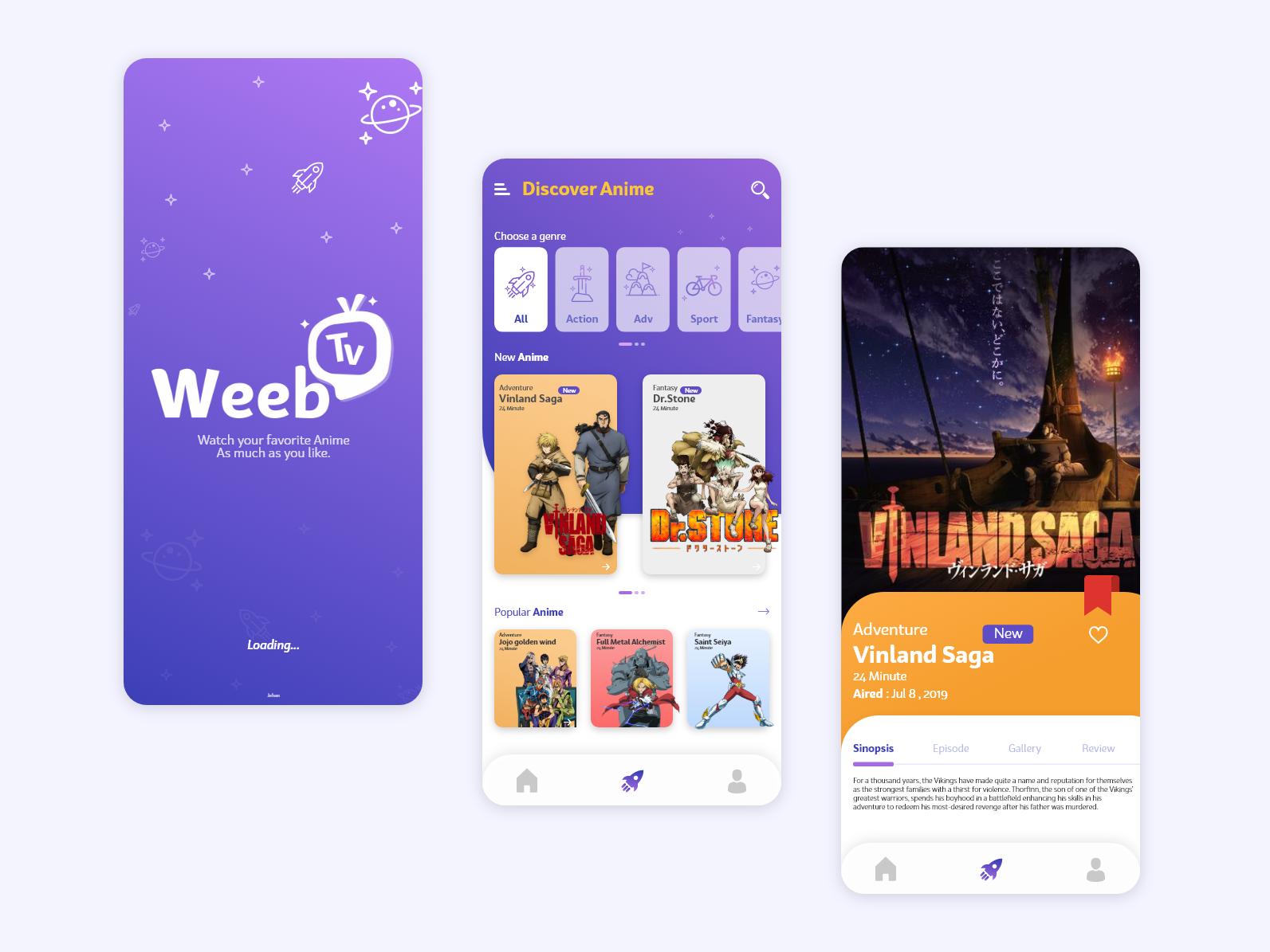 Weeb Tv - Mobile UI mobile logo anime streaming streaming app ux ui illustration design