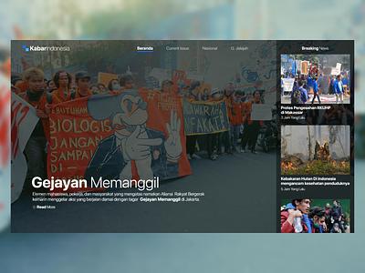 Kabar Indonesia - Gejayan Memanggil website user interface design user interface agency news web design web ux ui illustration design