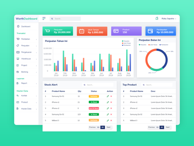 WorthDashboard - UI dashboard design dashboard ui dashboard icon ux user interface website ui design