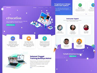 eDucation - Design education website elearning education purple ui design uidesign uiux isometric design isometric website ux ui design