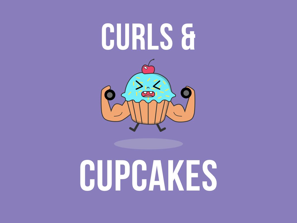 Curls & Cupcakes sketch app illustraor curls fitnes cupcake vector ux illustration design branding