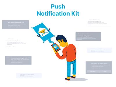 Push Notifications UI Kit app ios android webdesign graphic illustration free ui kit figmadesign uikits uikit ui freebie free notifications notification push notifications push notification push figma