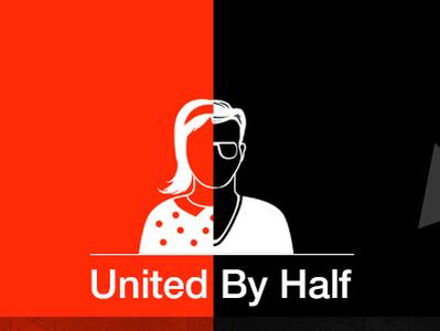 United by Half delhi tedx ted poster flat human half female male icon graphicdesign branding adobe minimal logo graphic design vector illustration art