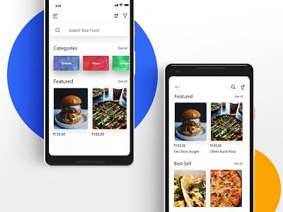 Food Menu App typography landing design mockup design website concept food app landing page restuarant art menu app minimal icon illustration graphic adobe ui ux design vector
