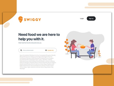 Swiggy Redesign Web Landing Page concept landing page concept branding animation web adobe ux ui minimal vector design illustration web app redesign swiggy food delivery food landing page website app