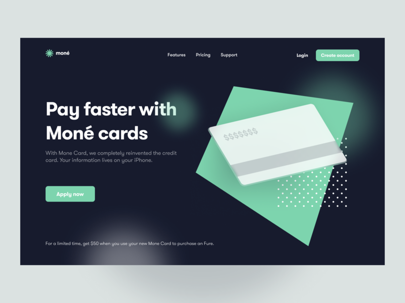 Moné Landing Page payment hero section hero bank money money app finance app card landing page figma website ux ui app web design ui design minimal design illustration
