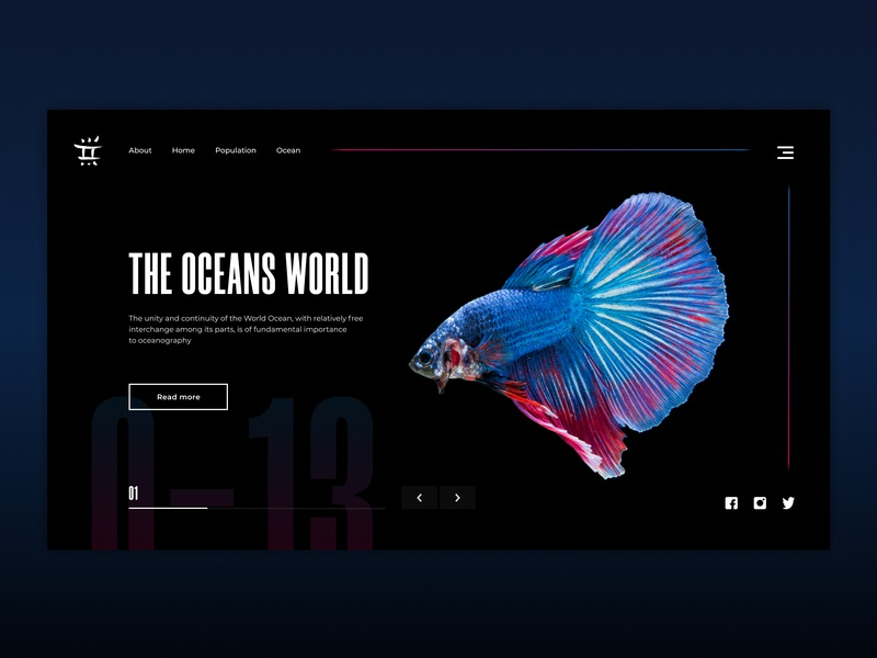 Oceans World Screen figma website minimal web flat animation app ui design