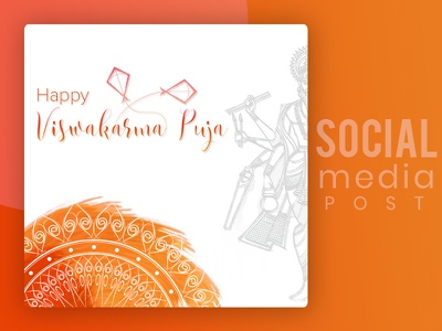 Viswakarma Puja Social Post illustration design