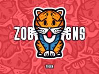 Zodiac Sign-Tiger plant panda design ui zodiac signs tiger cartoon character zoo animal