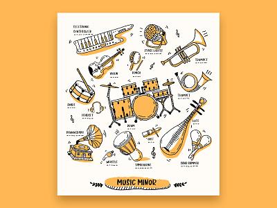 doodle 架子鼓 drum 乐器 音乐 包装 watch machine design guitar musical instrument music package ui doodle