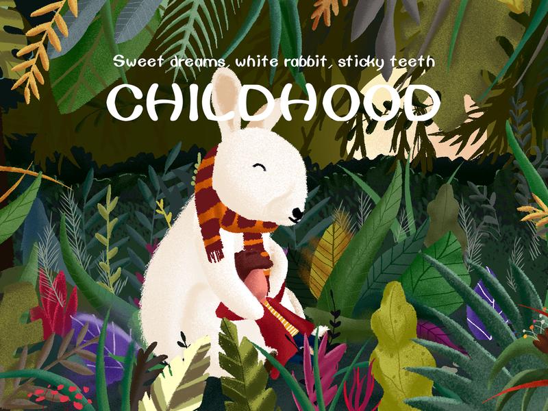 Dreaming white rabbit forest spring panda h5 character creation 植物 人物 plant illustration 设计 design ui